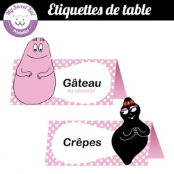 Barbapapa- Etiquettes de table