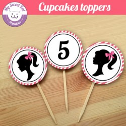 Barbie - Cupcakes toppers