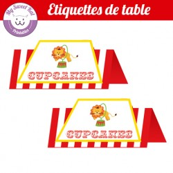 Cirque - Etiquettes de table