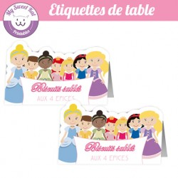 Princesse D - Etiquettes de table