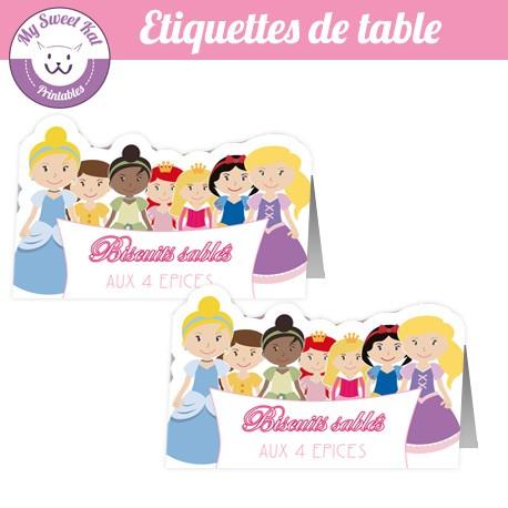 Princesse D - Etiquettes de table