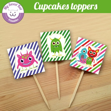 Monstres - Cupcakes toppers