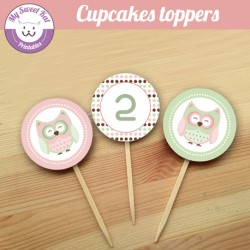 hibou - chouette - Cupcakes toppers