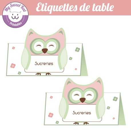 hibou - chouette - Etiquettes de table