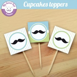 Moustache - Cupcakes toppers