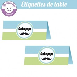 Moustache - Etiquettes de table