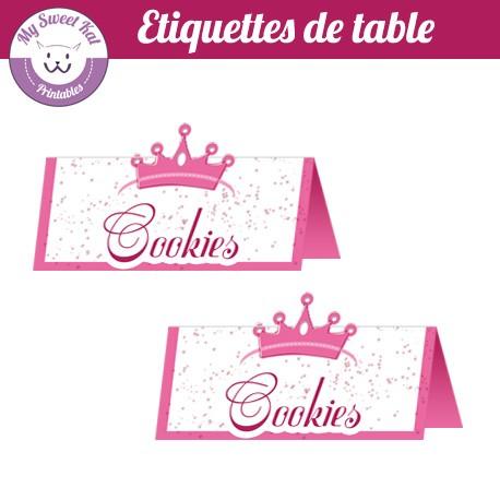 petite princesse - Etiquettes de table
