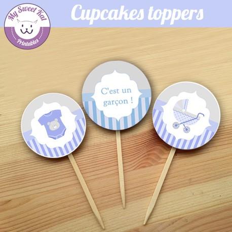 baby shower garçon 'bleu' - Cupcakes toppers