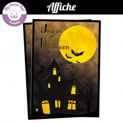 Affiche pour Halloween - maison hantée