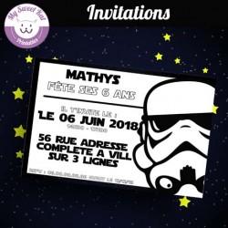 Star Wars- Invitations (stormtrooper-blanc)