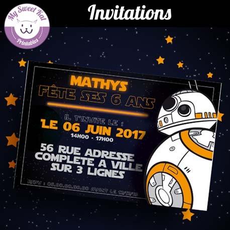 Star Wars- Invitations (bb-8)