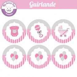 baby shower fille'rose' - guirlande