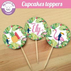 tropical flamingo - Cupcakes toppers