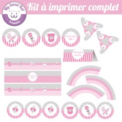 Baby shower 'rose' - Kit complet