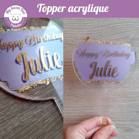 Cake Topper acrylique avec paillettes