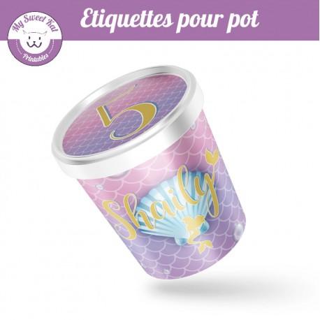 Sirène - étiquette pour pot
