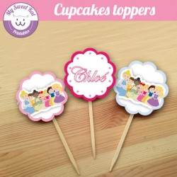 Pincesses D - Cupcakes toppers