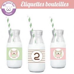 hibou - chouette - Etiquettes bouteilles