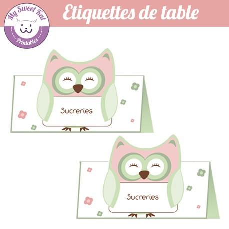 hibou - chouette - Etiquettes de table
