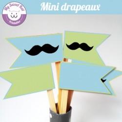Moustache - mini drapeaux