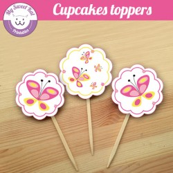 Papillon - Cupcakes toppers