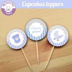 Baby shower 'Bleu' - Cupcakes toppers