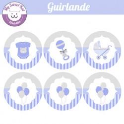 baby shower garçon 'bleu' - guirlande