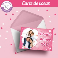 Carte de voeux avec photo - girly rose