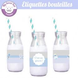 Baby shower 'Bleu' - Etiquettes bouteilles