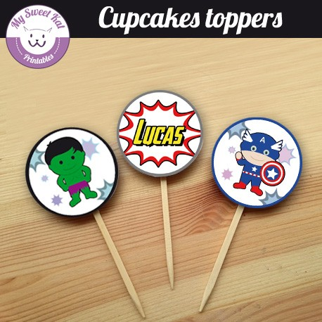 baby avengers - Cupcakes toppers