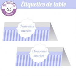 Baby shower 'Bleu'- Etiquettes de table