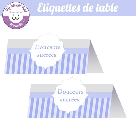 Bbay shower 'Bleu' - Etiquettes de table