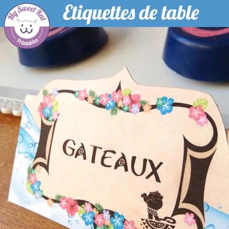 Vaiana- Etiquettes de table