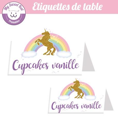 Licorne - Etiquettes de table