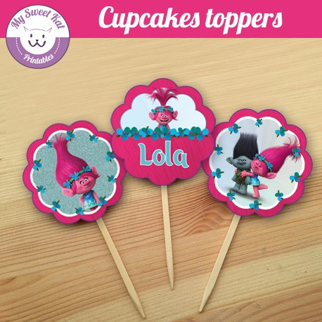 Trolls - Cupcakes toppers
