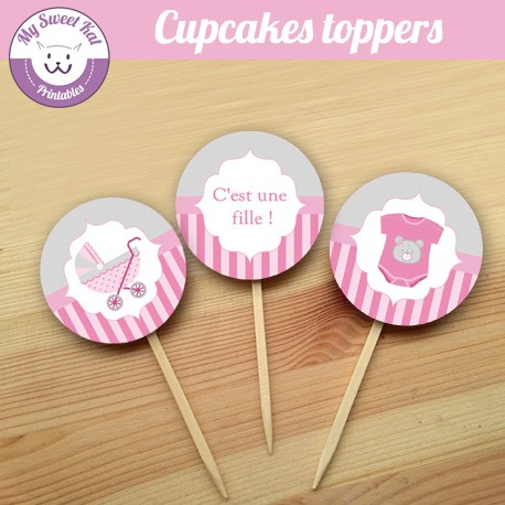 baby shower fille 'rose' - Cupcakes toppers