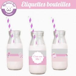 Baby shower 'rose' - Etiquettes bouteilles