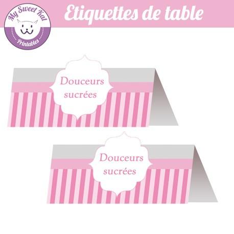 Bbay shower 'rose' - Etiquettes de table