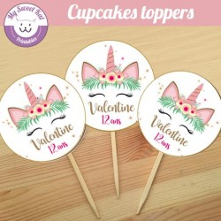 Licorne  2 - Cupcakes toppers
