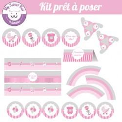 Baby shower 'rose' - Kit complet