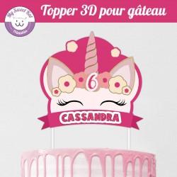 Topper 3D -  tête de licorne